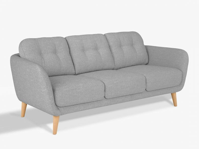 Modern grey fabric 3-seater sofa
