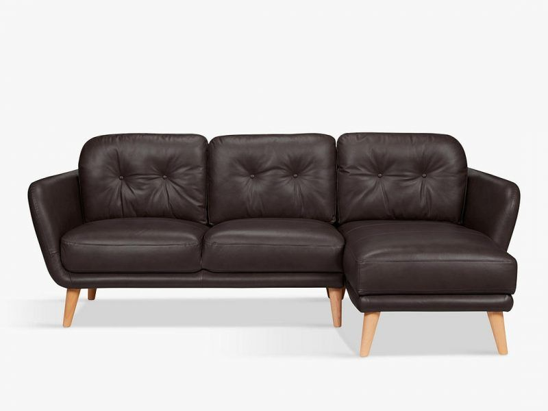 Black leather chaise end sofa