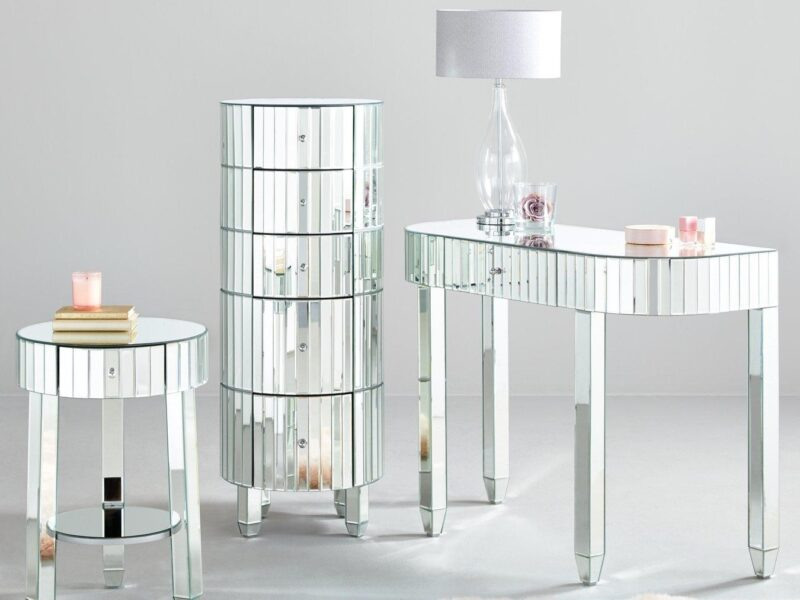 Mirrored bedside table, drawer chest and dressing table
