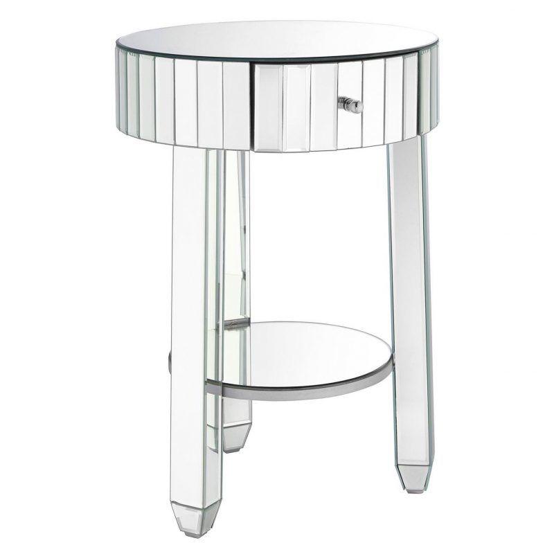 Round bedside table with mirror finish