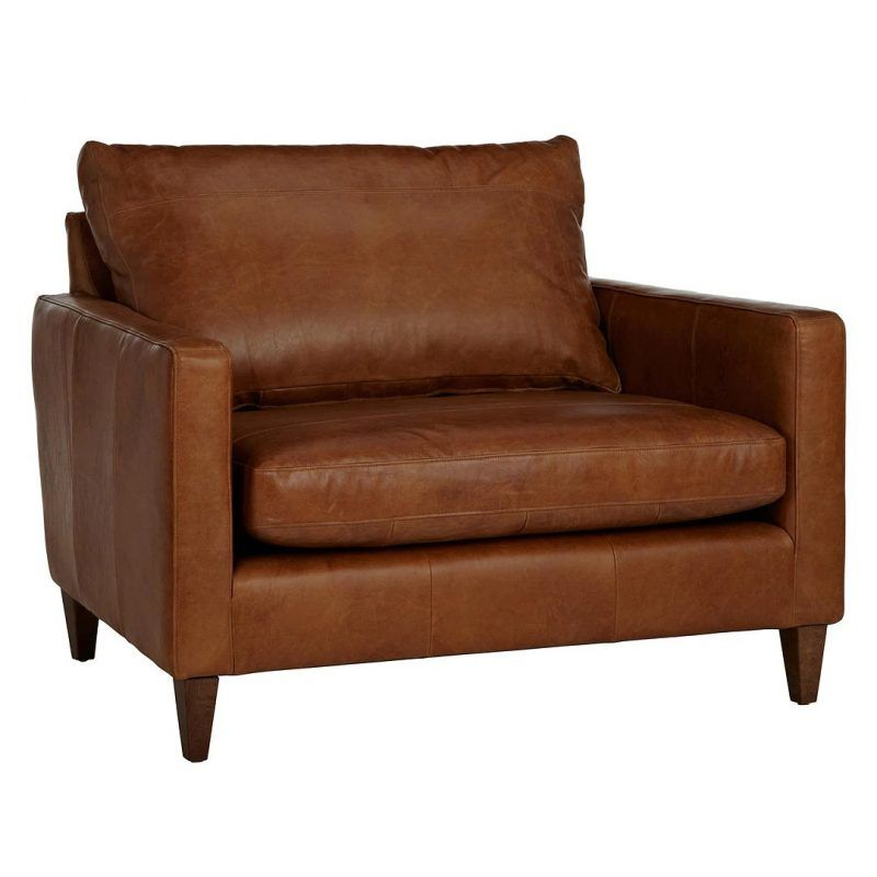 Wide leather snuggler armchair