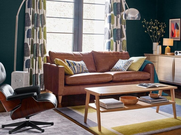 Leather sofa in a living room setting
