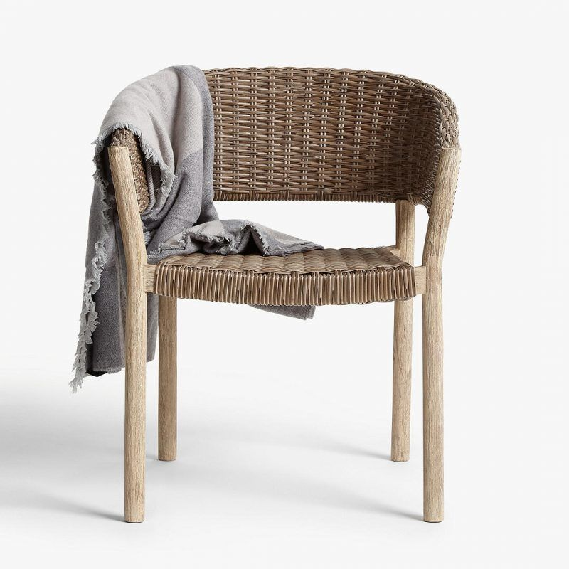 Outdoor dining chair with wicker seat and back rest