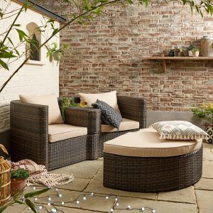 Twin garden seat with footstool