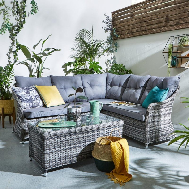 Rattan corner sofa with matching table