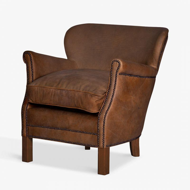 Brown antique leather armchair