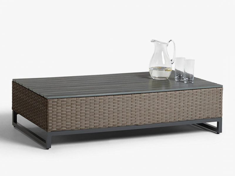 Rattan garden coffee table with wooden top