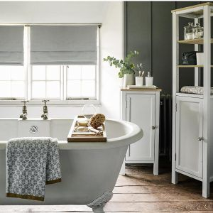 Painted bathroom furniture with oak tops