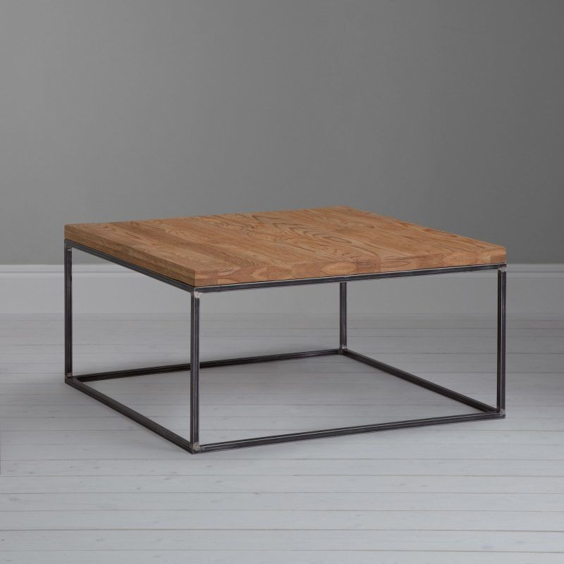 Square metal frame coffee table with oak top
