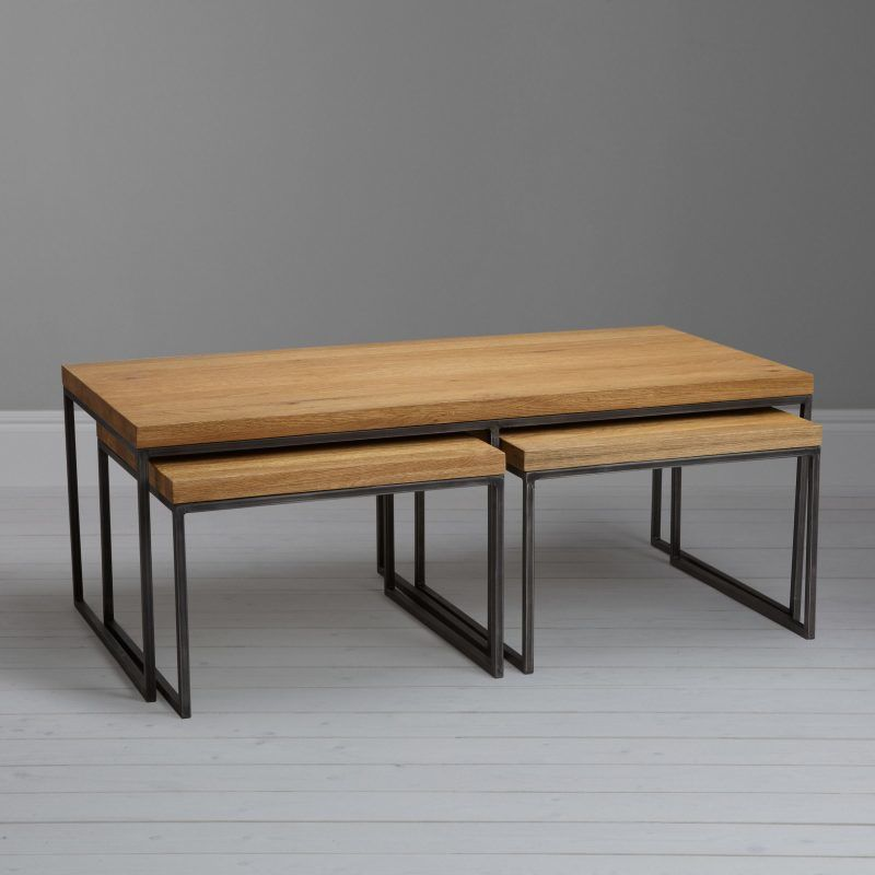Oak and metal coffee table with a pair of nesting tables