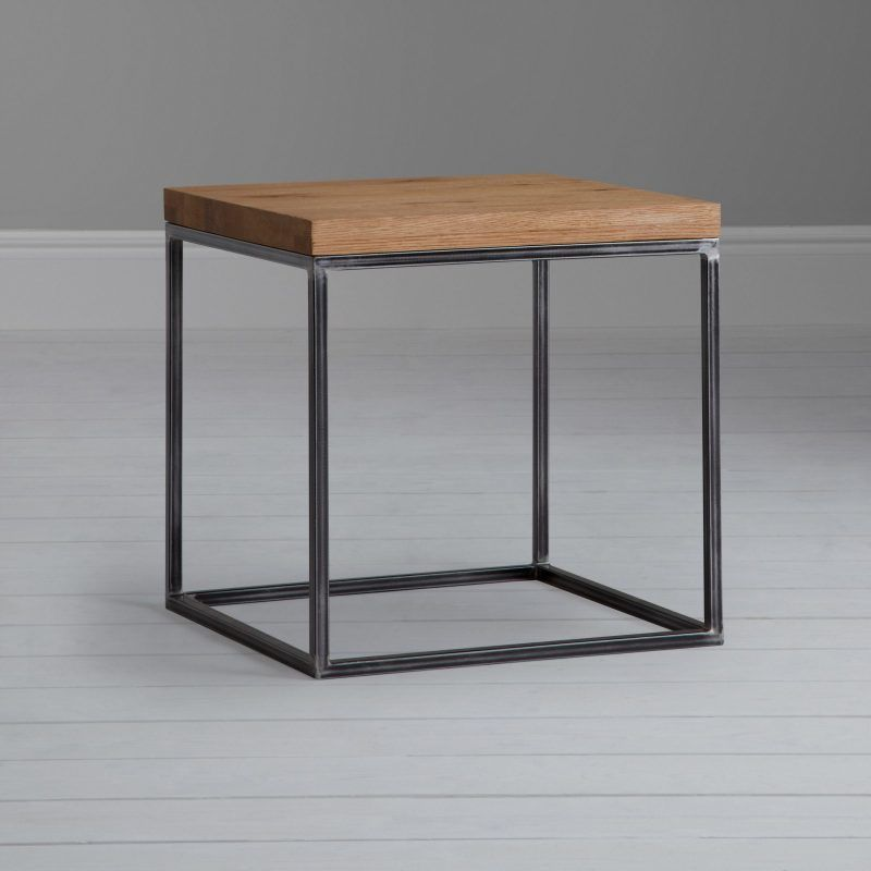 Metal frame side table with oak top
