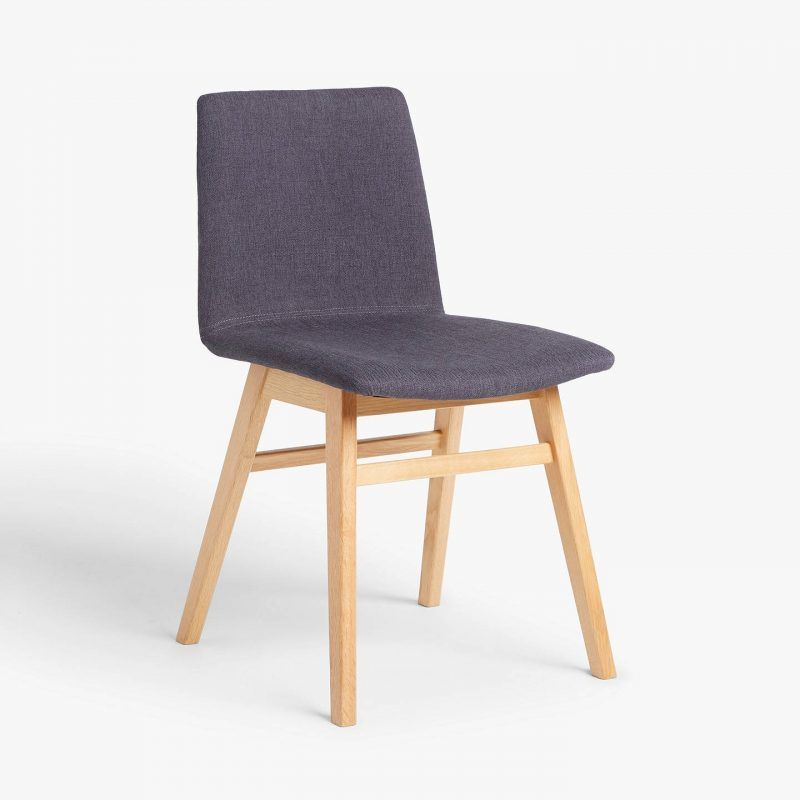 Modern dining chair with charcoal upholstery