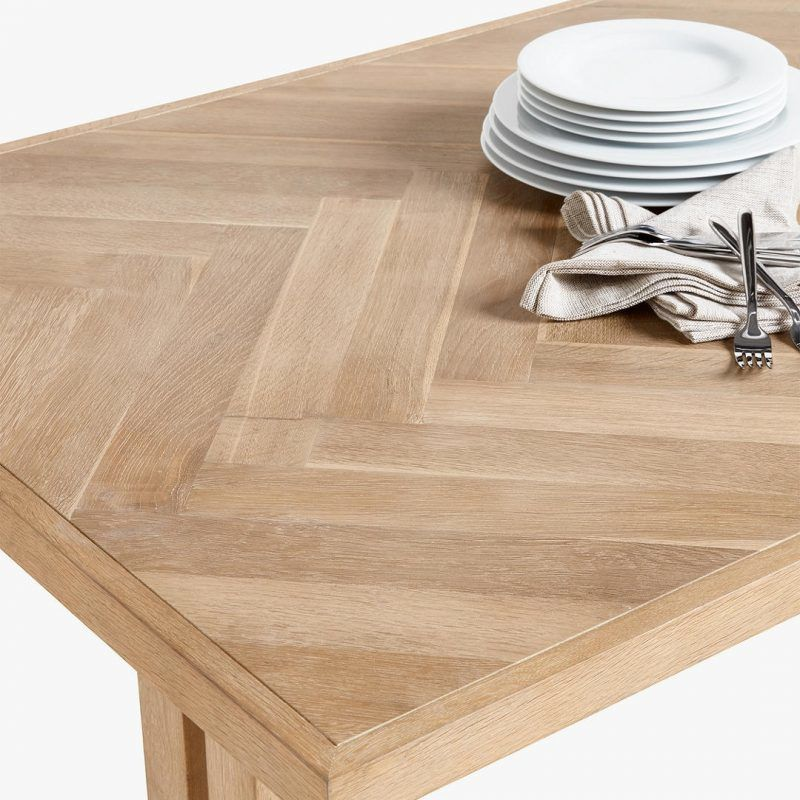 Parquet top dining table