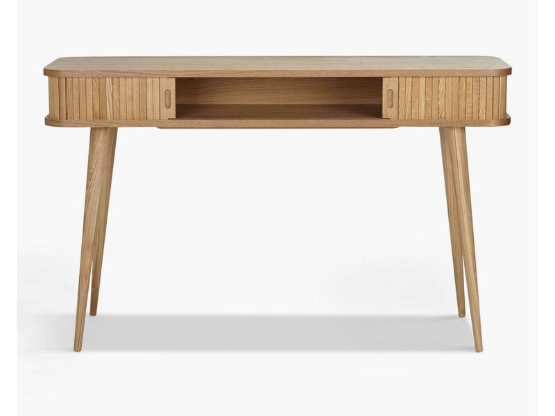 Oak console table with hidden storage