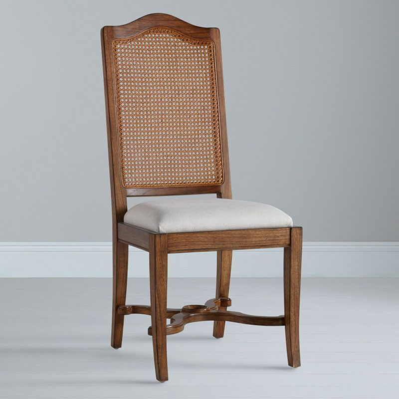 Oak dining chair with woven cane back