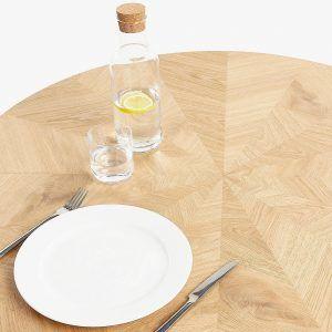 Chevron design oak dining table