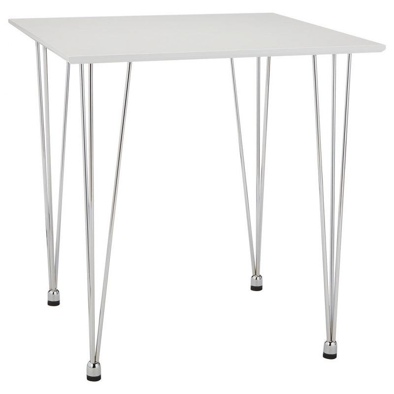 Square white lacquered dining table