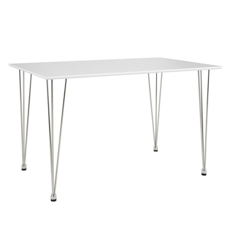 White rectangular dining table with chrome legs