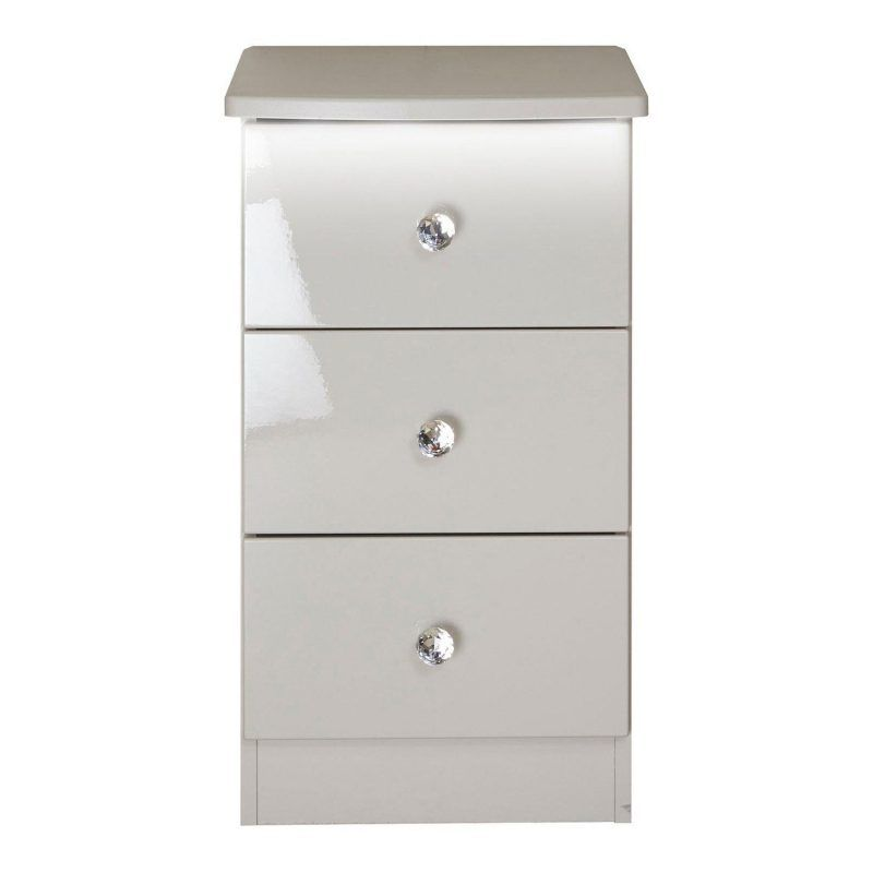 Grey gloss bedside unit with crystal handles