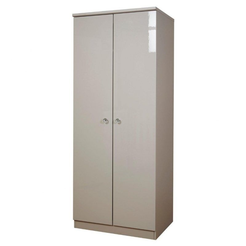 Grey gloss wardrobe with built-in lighting