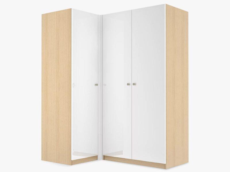Oak corner wardrobe with white gloss doors