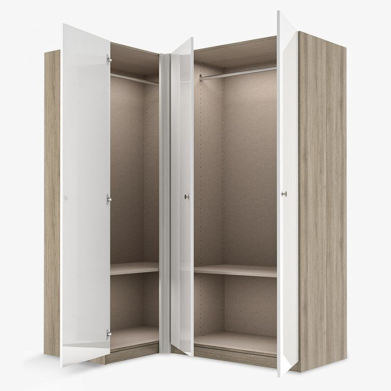 Ash corner wardrobe with grey doors
