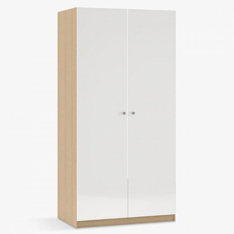 Oak 2-door wardrobe with white gloss doors