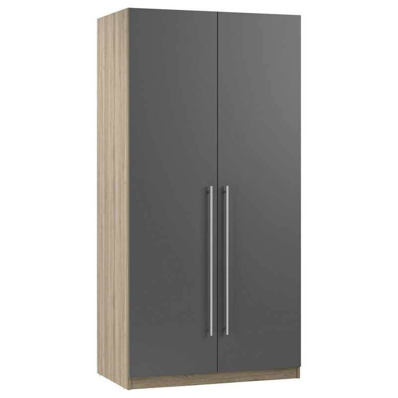 Double wardrobe with grey doors and bar handles