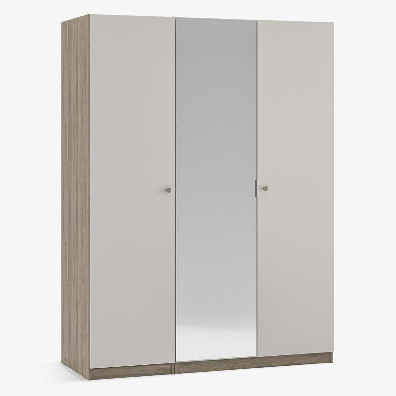 triple wardrobe with 2 gry doors and one mirror door