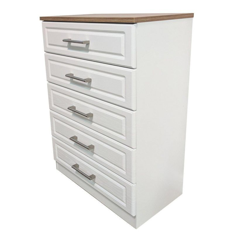 White 5-drawer chest with oak top