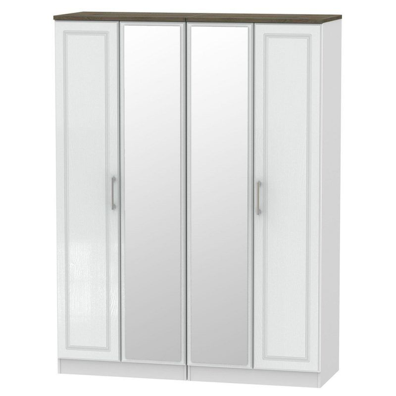 White 4-door wardrobe with oak top and twin mirrors