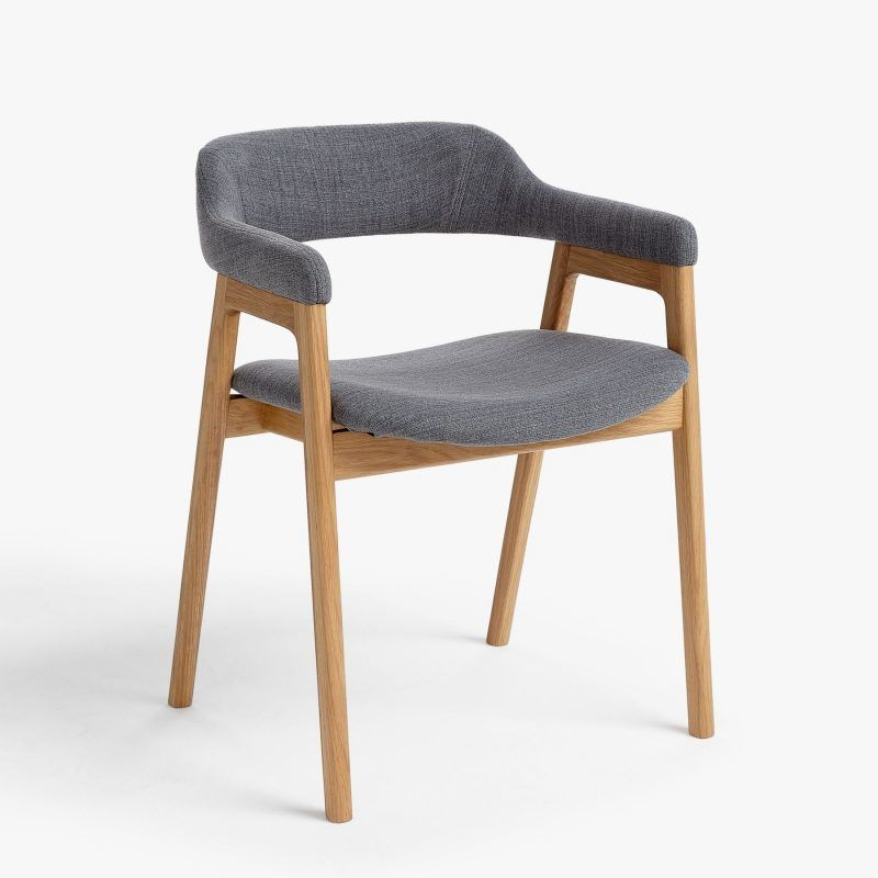 Dining chair with grey upholstery