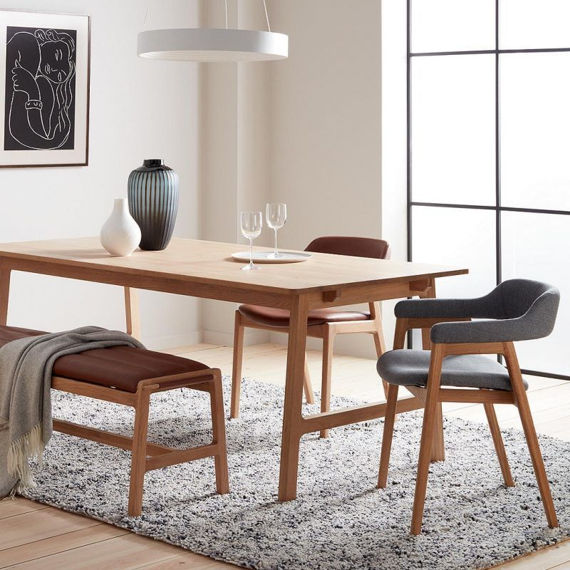 Santino oak dining table, bench and chairs