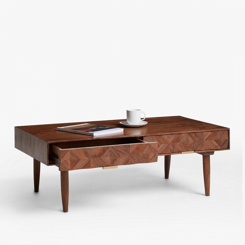Designer coffee table with marquetry style drawer fronts