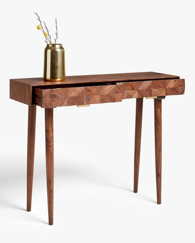 Acacia console table with geometric pattern door