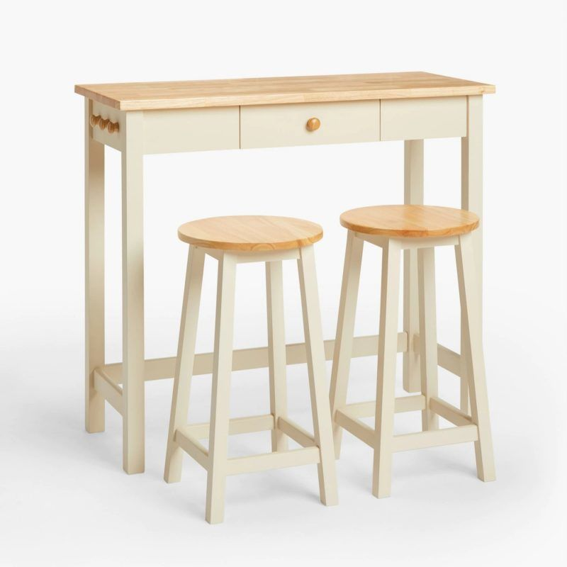 Cream/oak bar table with two stools