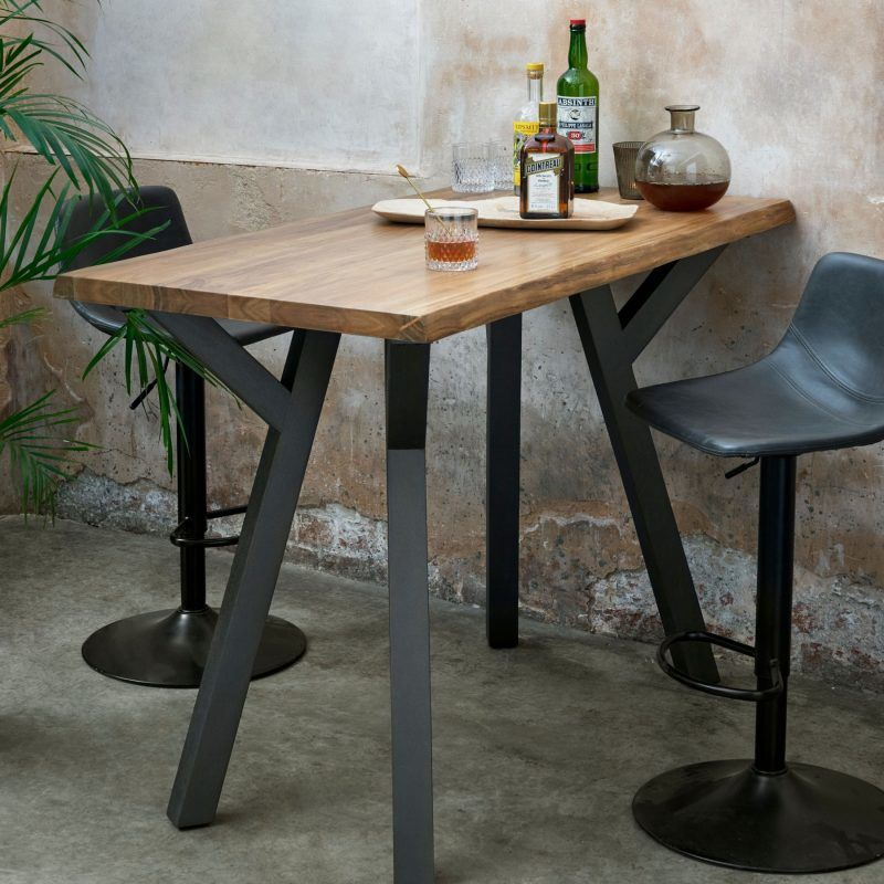 Industrial-style bar table with black metal legs
