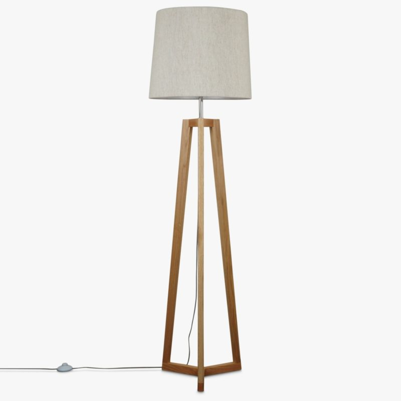 Tripod lamp with linen shade