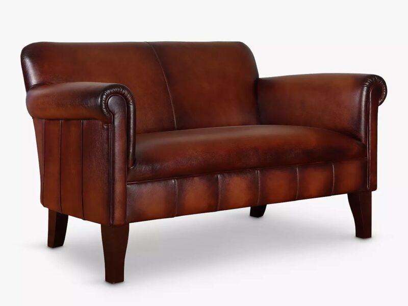 Antique leather small sofa