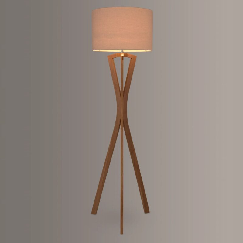 Oak floor lamp with hourglass-shaped frame