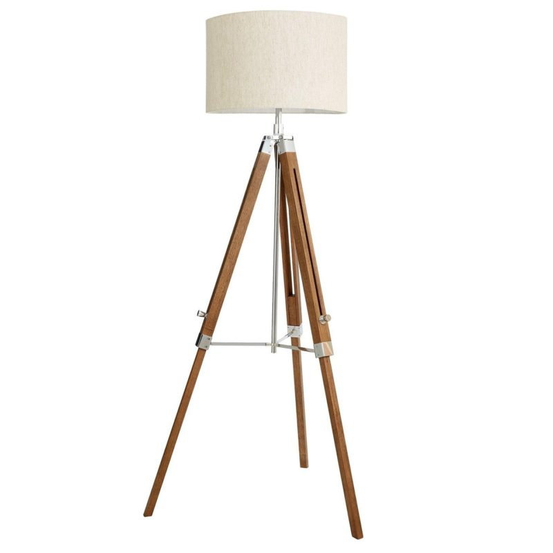 Adjustable height tripod base floor lamp
