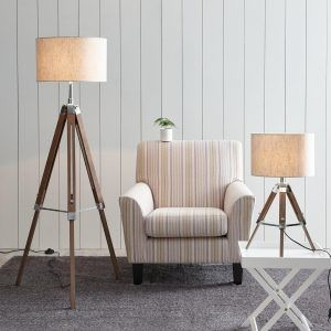 Tripod floor lamp and matching table lamp