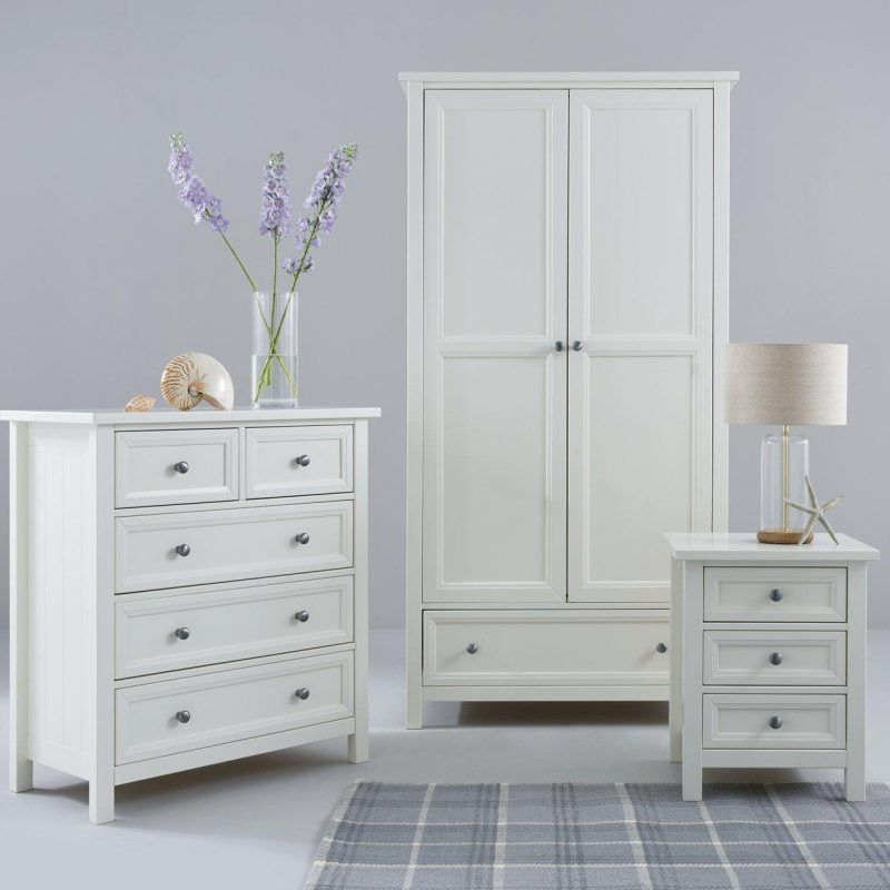 White painted New England style bedroom furniture