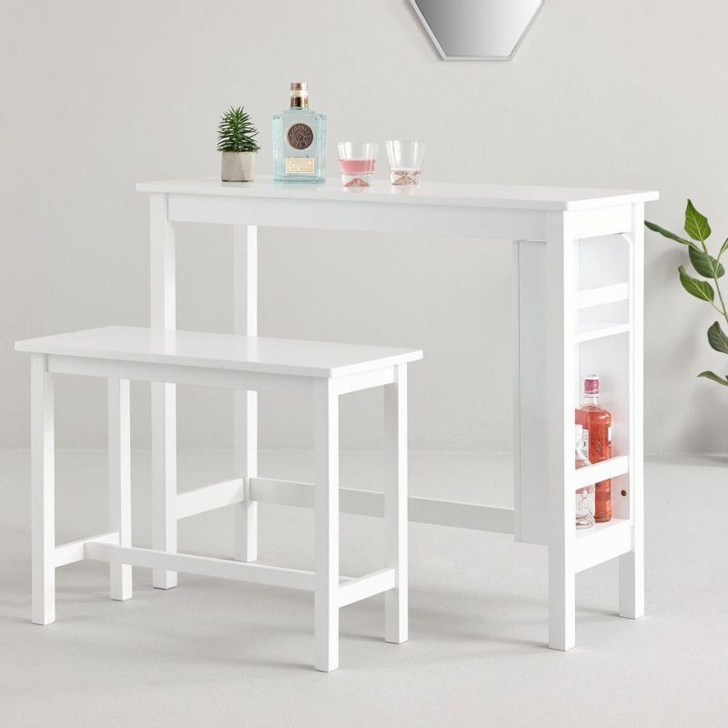 White bar table with matching bench