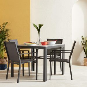 Grey painted outdoor dining table and 4 matching chairs