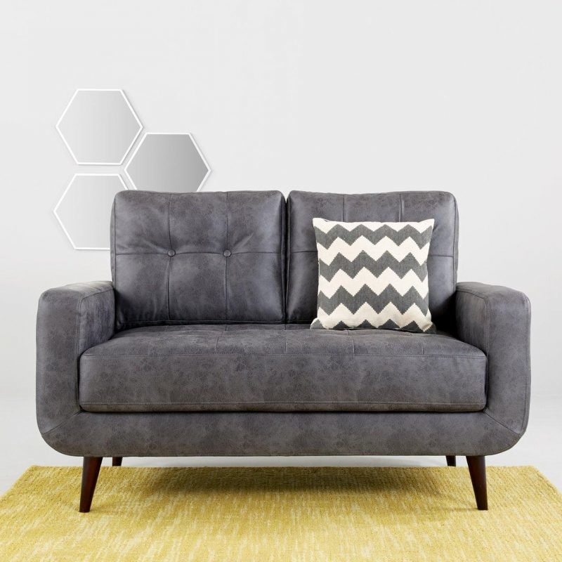 Grey faux leather 2-seater sofa