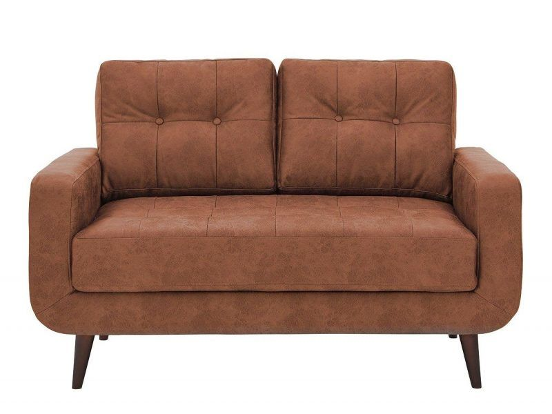 Tan faux-leather sofa