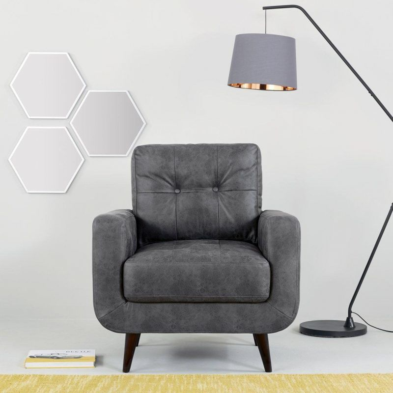 Armchair with grey faux leather upholstery