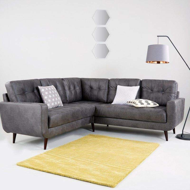Grey faux-leather corner sofa