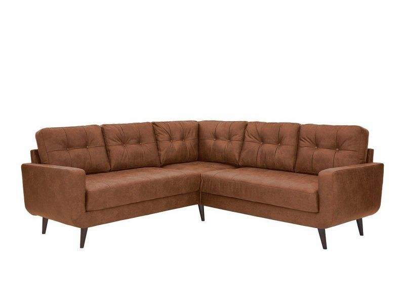 Tan faux-leather corner sofa